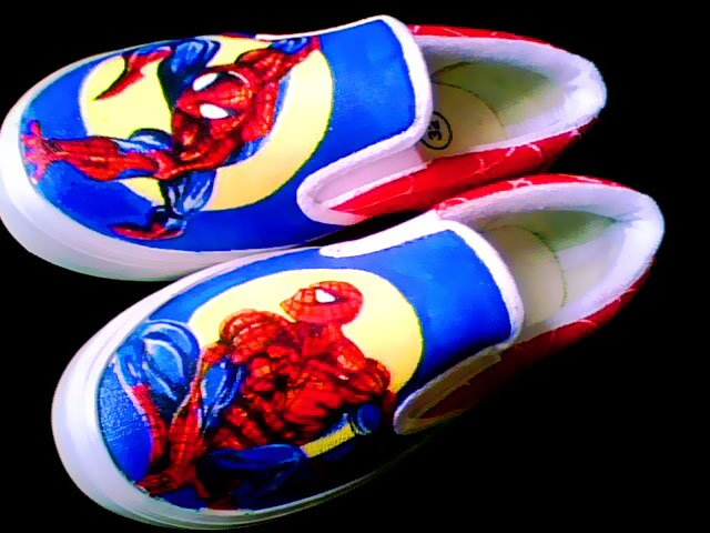 Spiderman Hand Painted Shoes (Unisex slip on)