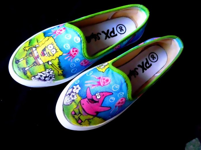 Spongebob Squarepants Airbrushed Shoes (women's slip on)