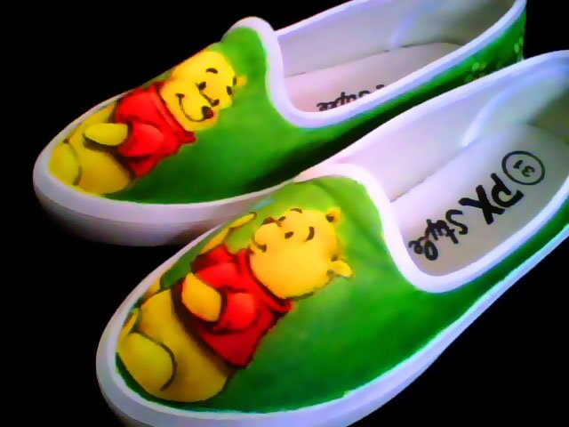 Winnie the pooh Hand Painted Shoes (women's slip on)