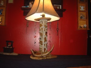 Custom Antler Barbed Wire Stone Lamp