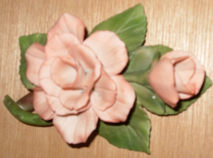 Capodimonte Peach Pink Rose with Bud Flower
