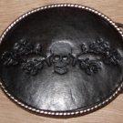 Leather & Metal Dead Skull Belt Buckle