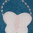 White & Pink Butterfly Bead Pocketbook Purse Handbag