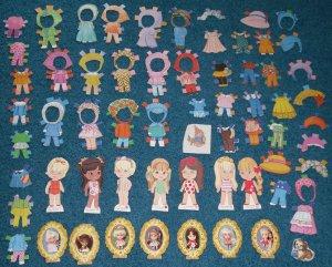 Little Kiddle Paper Dolls 64 piece lot Mattel 1967