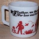 Anchor Hocking Child Mug Prayer D Handle Fire King Milk Glass