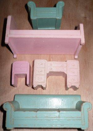 Wood Doll House Furniture Strombecker Pink Bedroom Aqua Living Room