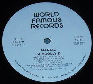 "Schoolly D Maniac & Gangster 1984 12"" Record"