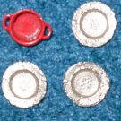 Doll House enamel coffee pot-pan-silver plates dollhouse lot