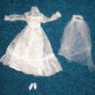 Barbie Lace Bride Gown Veil and Shoes