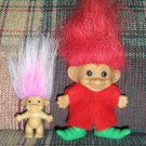 2 Troll Dolls Christmas Elf with Baby by Russ