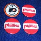 Philadelphia Phillies Baseball & Flyers Hockey Buttons Pins