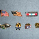 Pinbacks Buttons Veterans, Star, Football, Flags, American Airlines APFA, LVD