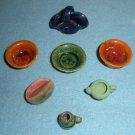 Miniature Dollhouse Bowls, Basket Vase Pottery