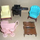 Dollhouse Furniture by Ideal Renwal Sewing Machine, Baby Carriage, Chairs