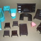 Dollhouse Furniture by Plasco Fireplace, bathroom, chair