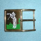 Belt Buckle with Golfer on Golf Greens