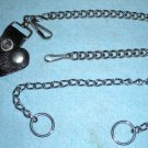 Biker Key Chain with Leather & Chain Goth Punk Style