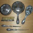 Antique Mauser Vanity Set Fine Sterling Silver Cherubs