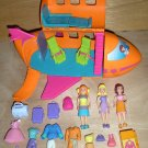 Polly Pocket Jet Airplane & 3 Dolls Clothes