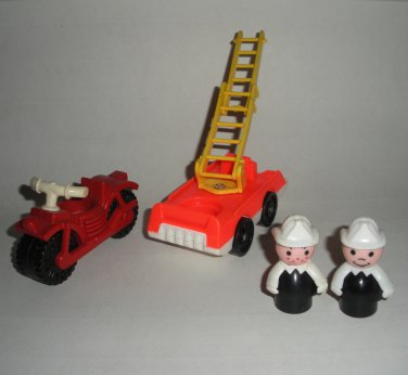 Little People Fire Truck Motorcycle Fireman Freckles Fisher Price Lot 8