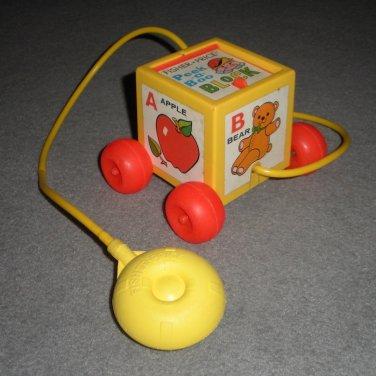 Fisher Price Peek-a-Boo Block Pull Toy 1970