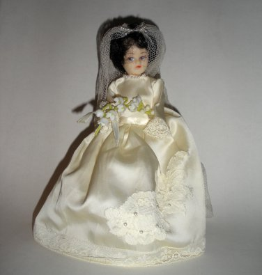 "8"" Bride Doll Bubble Haircut Satin Pearl Dress"