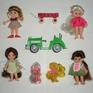 Vintage Flatsy Dolls with Green Car Wagon by Ideal
