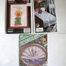 Counted Cross Stitch Victorian Fan, Dresser Scarf, Suzy's Zoo Lot