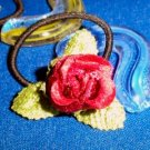 Rose Bud Set Ponytail Pigtails Hair Accessory Barrette  OOAK