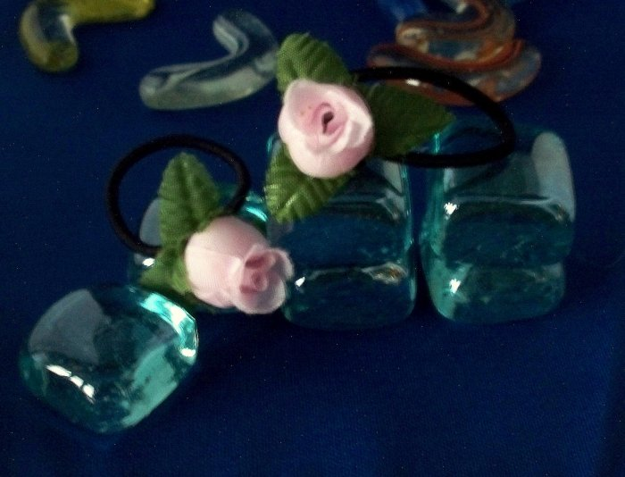 Pink Rose Bud Ponytail Hair Accessory Barrette  OOAK