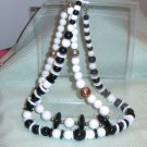 black and white beaded necklaces-Vintage set of 2
