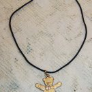 Artisan bear necklace antique gold wash with silk cord