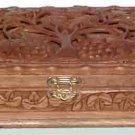 Hand Carved Walnut Jewelry Box for women/girls - Free Shipping