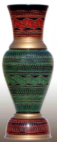 Green Handmade Wooden flower Vase - Lac Work