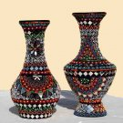 Handmade Flower Vases - Mirror Work - Pair for Home Decor
