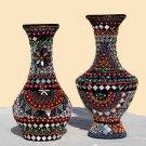Handmade Flower Vases - Mirror Work - Pair for Home Decor