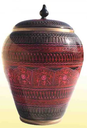 Red  Handmade  Wooden Candy Jar - Lac Work