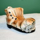 VINTAGE HAND PAINTED MOUSE IN THE SHOE POTTERY PLANTER