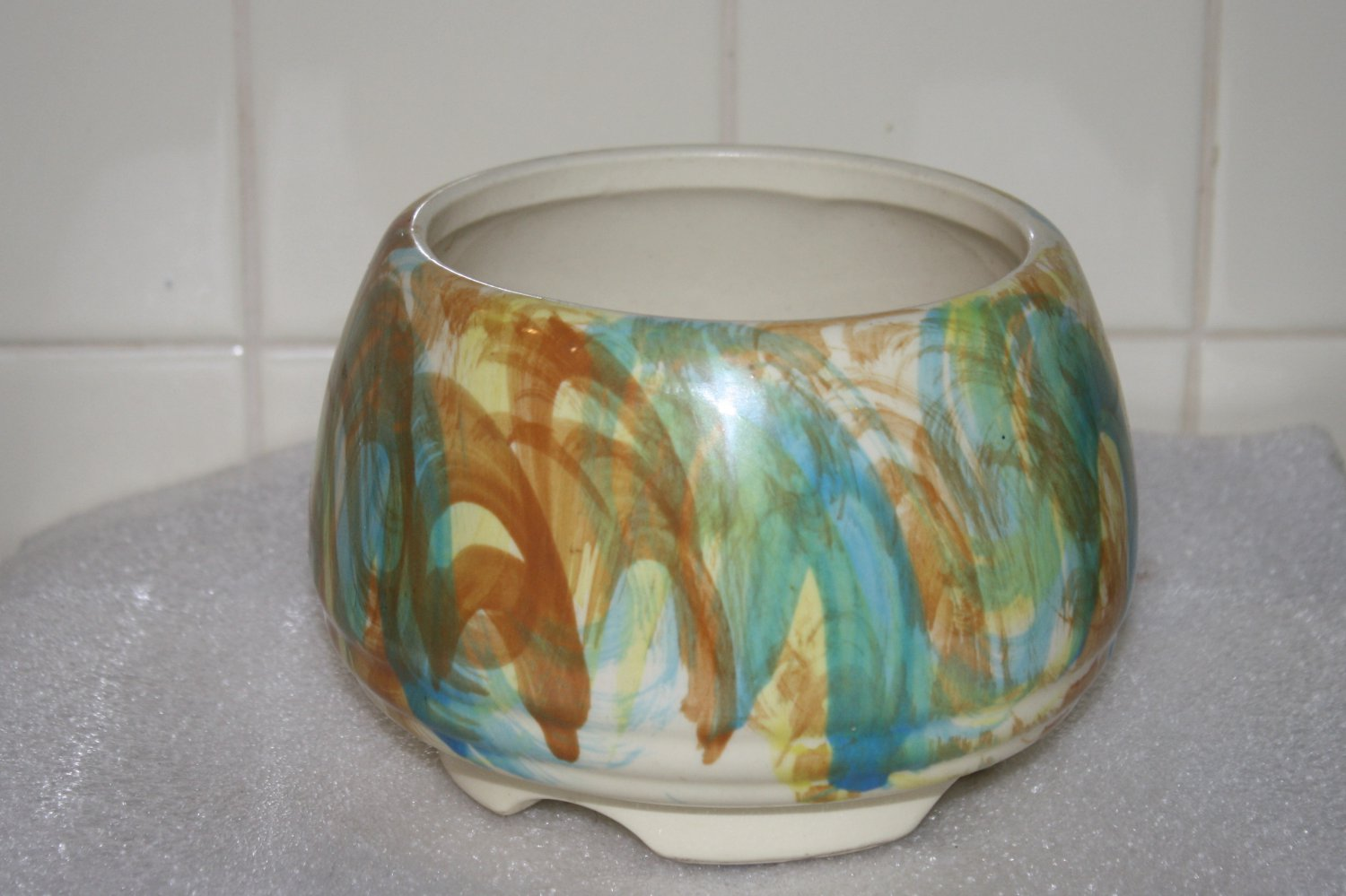 Vintage Footed Up Co. Turquoise & Rust Pottery Bowl Planter