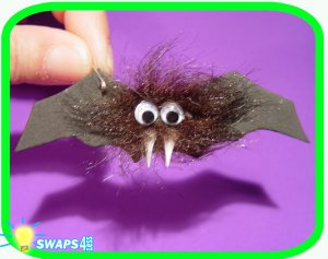 """Halloween Hairy Bat Scout """"Girl Scout"""" or """"Boy Scout"""" SWAPS Craft Kit by Swaps4Less.com"""