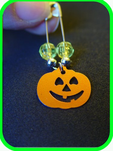 """Halloween Jack-o-lantern Coil-less Charm Pin """"Girl Scout"""" """"Boy Scout"""" SWAPS Craft Kit by Swaps4Less"""