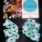 Addison - Small Hair Bow - Blue with Brown Polka Dots