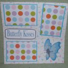 """Butterfly Kisses blue""-Premade Scrapbook Page 12x12"