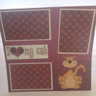 """I Love My Cat Brown""-Premade Scrapbook Page 12x12"