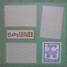 """Baby Shower Girl Carriage""-Premade Scrapbook Page 12x12"