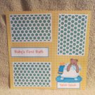 """Baby's 1st Bath""-Premade Scrapbook Page 12x12"
