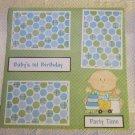 """Baby's 1st Birthday Boy 2a""-Premade Scrapbook Page 12x12"