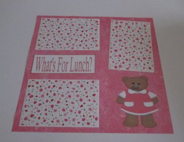 """""""What's For Lunch? Girl a""""-Premade Scrapbook Page 12x12"""