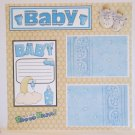 """Baby Boy He's One Proud Papa""-Premade Scrapbook Page 12x12"