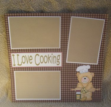 """""""I Love Cooking cs""""-Premade Scrapbook Page 12x12"""